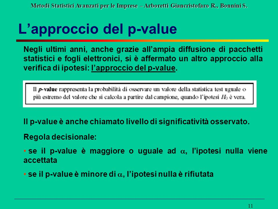 L'approccio del p-value