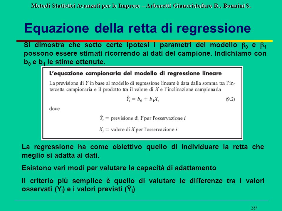 Equazione della retta di regressione