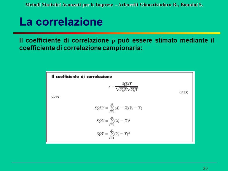 La correlazione Il coefficiente di correlazione r può essere stimato mediante il coefficiente di correlazione campionaria: