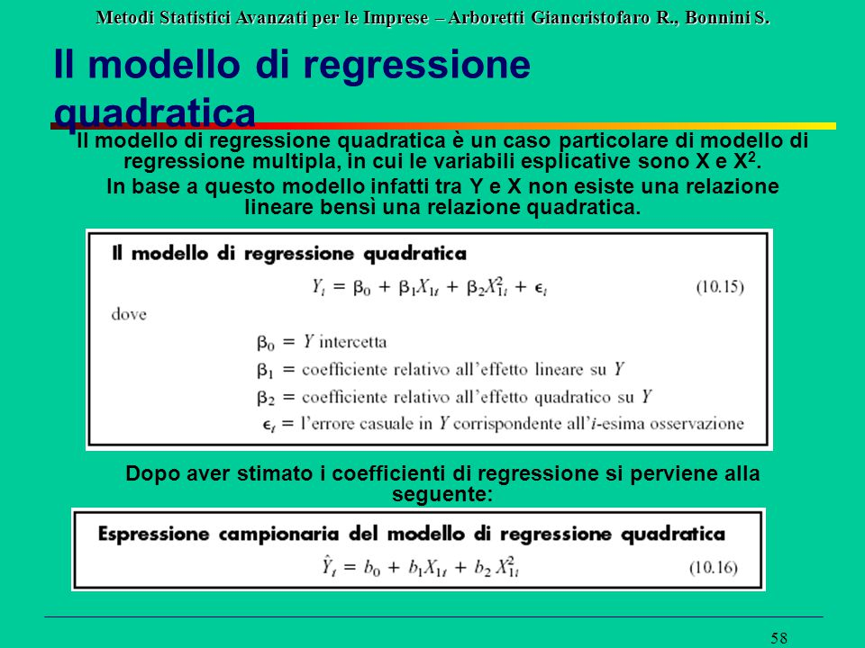 Il modello di regressione quadratica