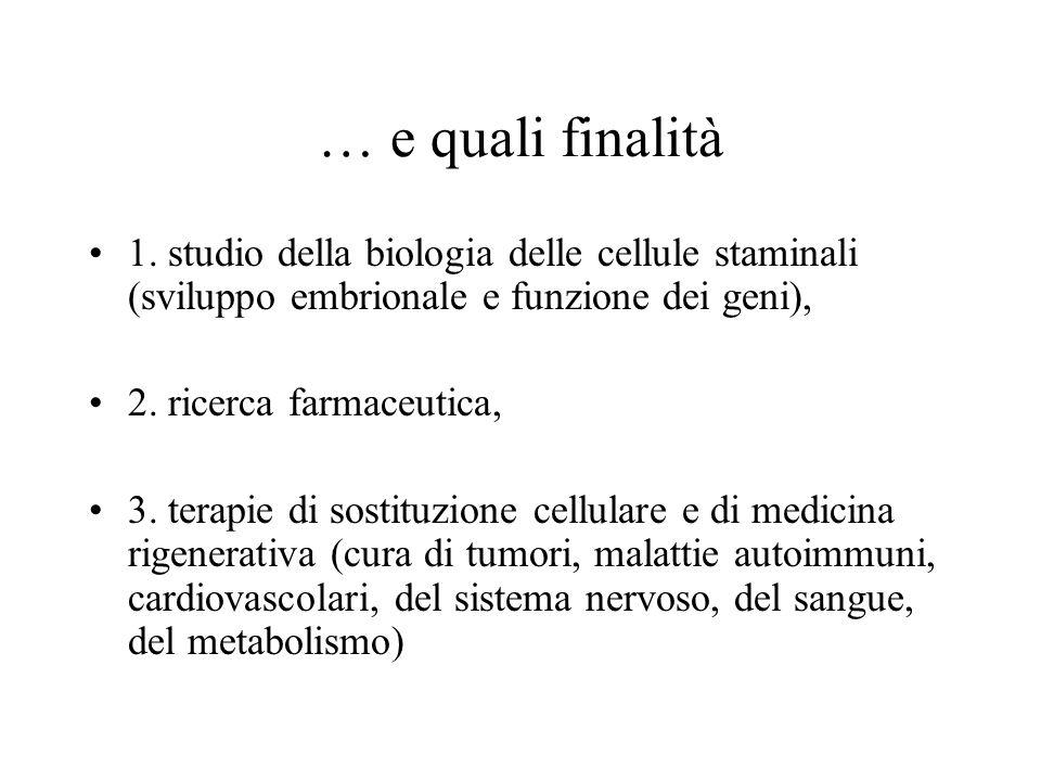 … e quali finalità 1. studio della biologia delle cellule staminali (sviluppo embrionale e funzione dei geni),