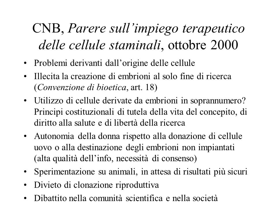 CNB, Parere sull'impiego terapeutico delle cellule staminali, ottobre 2000