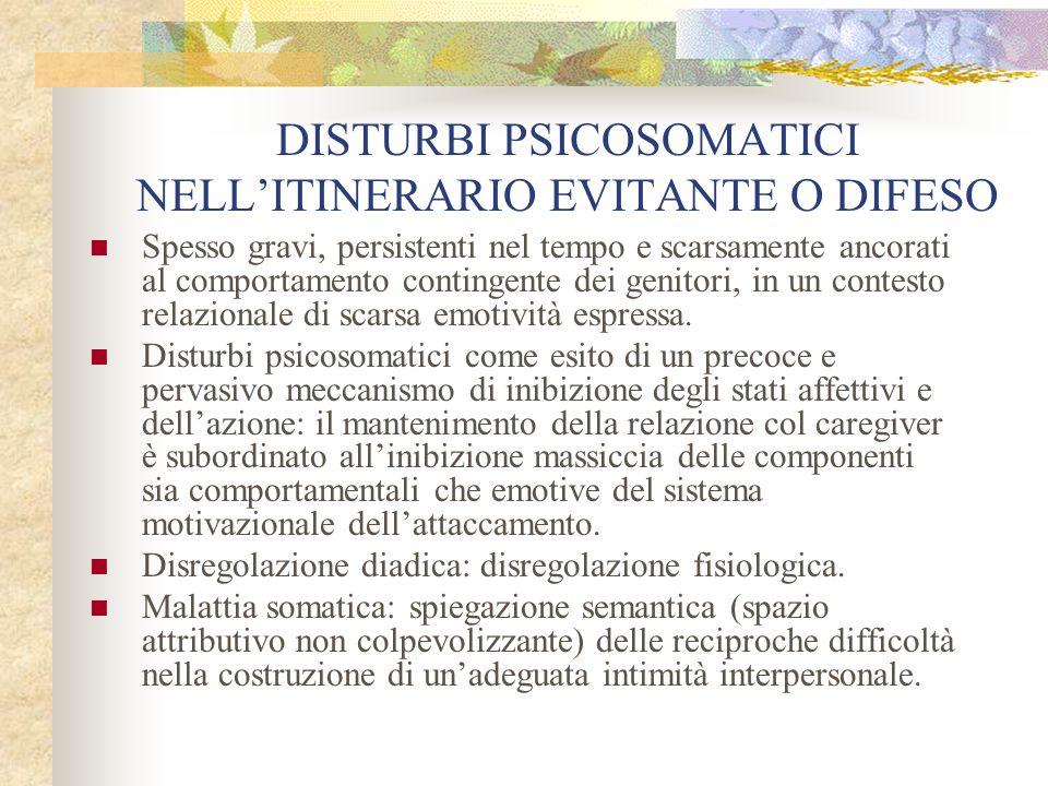 DISTURBI PSICOSOMATICI NELL'ITINERARIO EVITANTE O DIFESO