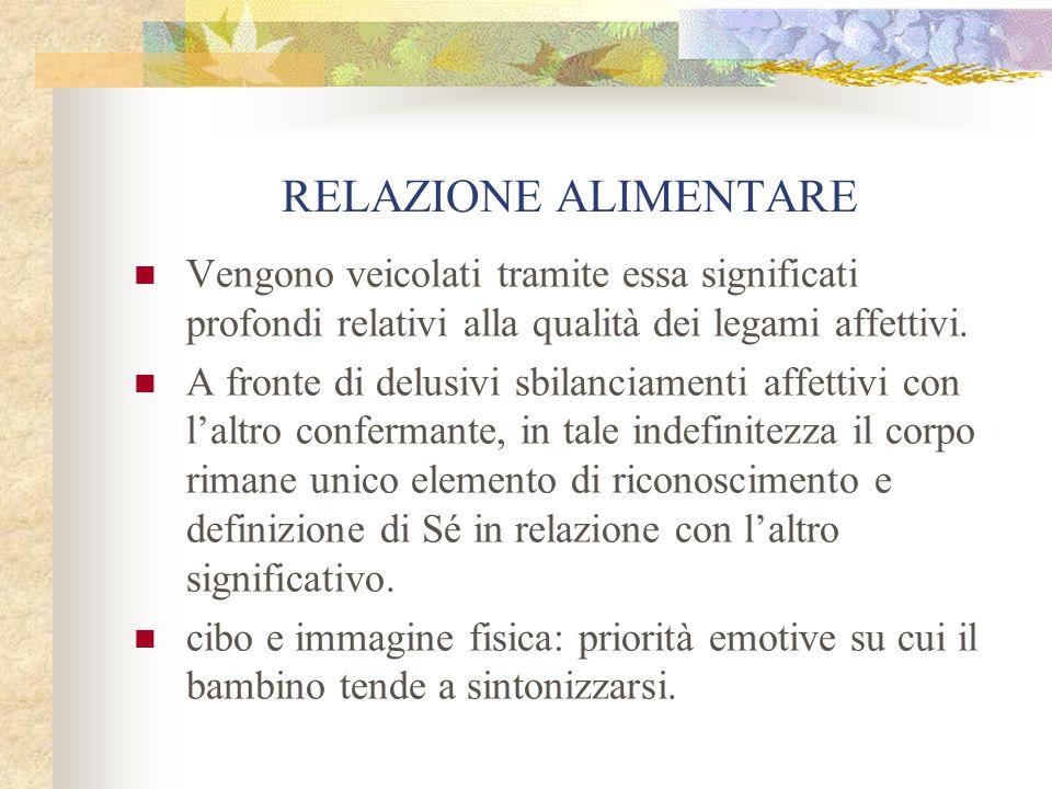 RELAZIONE ALIMENTARE Vengono veicolati tramite essa significati profondi relativi alla qualità dei legami affettivi.