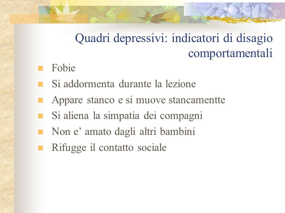 Quadri depressivi: indicatori di disagio comportamentali