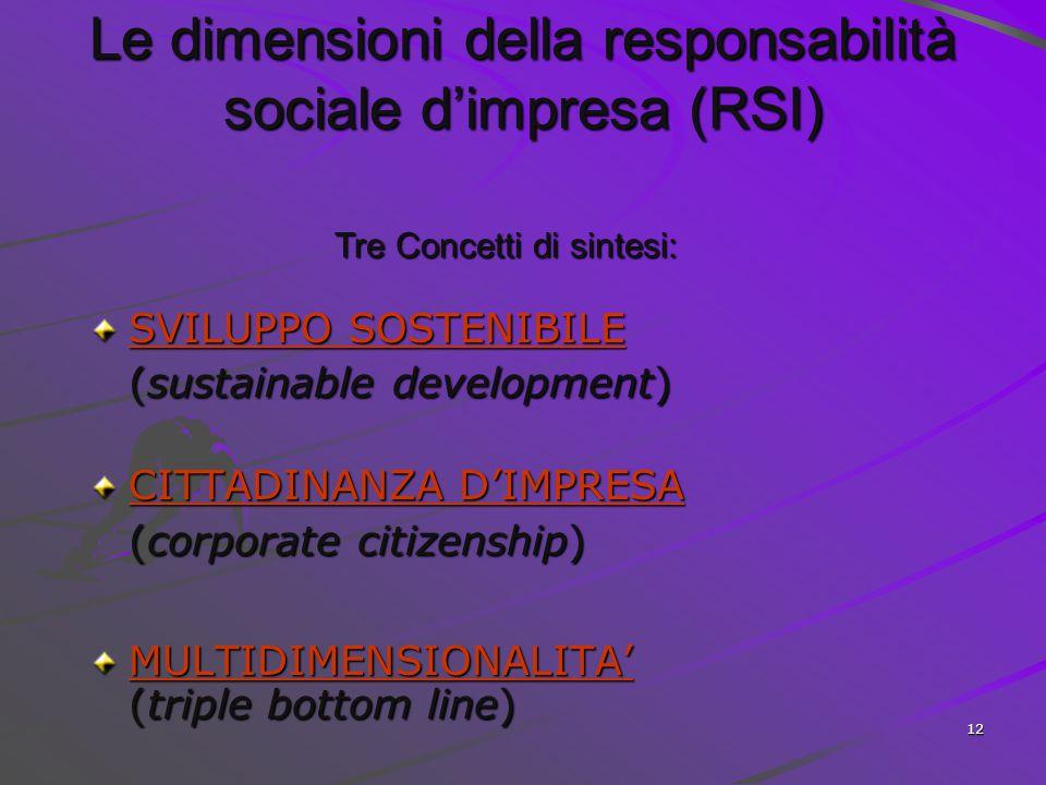 Le dimensioni della responsabilità sociale d'impresa (RSI)