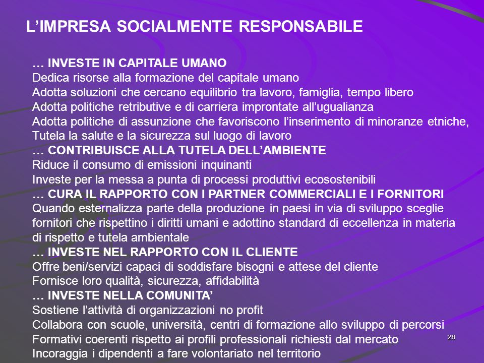 L'IMPRESA SOCIALMENTE RESPONSABILE