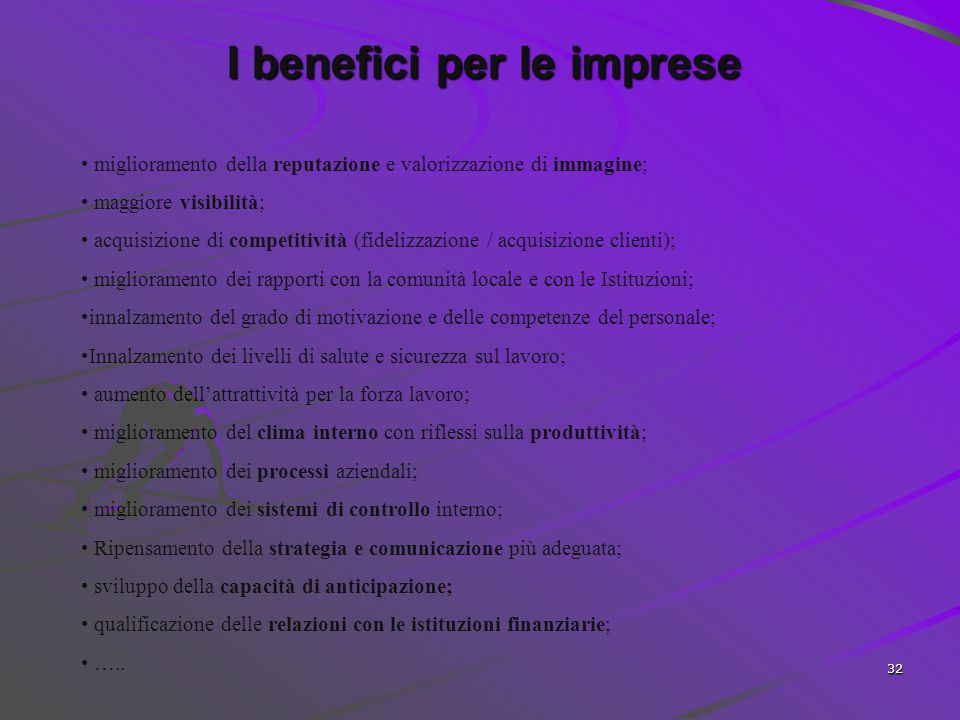 I benefici per le imprese