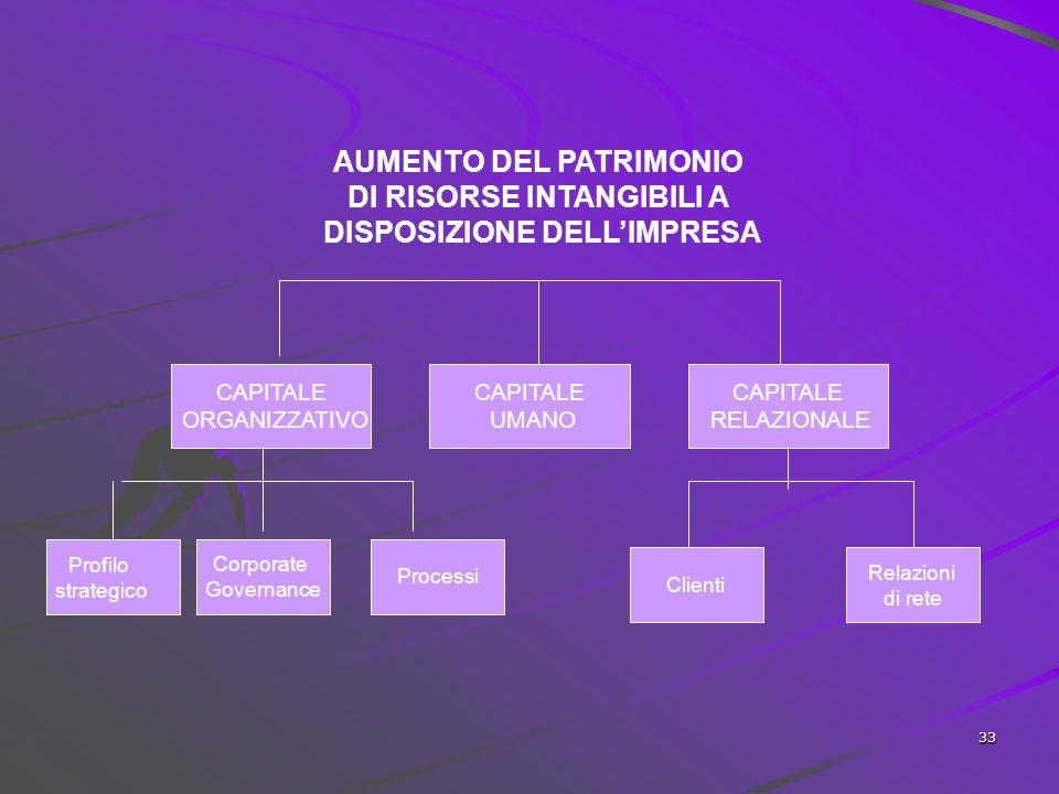 AUMENTO DEL PATRIMONIO DI RISORSE INTANGIBILI A