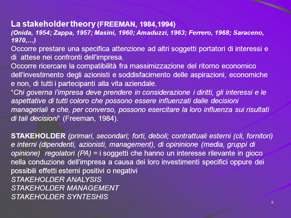 La stakeholder theory (FREEMAN, 1984,1994)