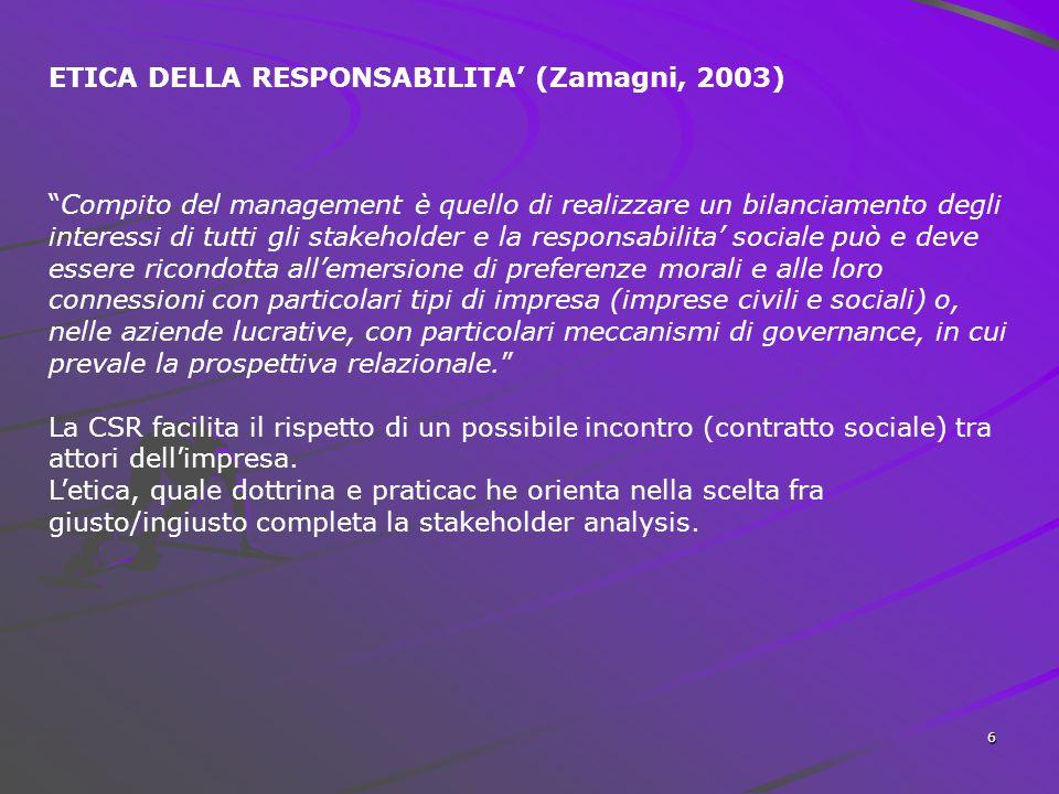 ETICA DELLA RESPONSABILITA' (Zamagni, 2003)