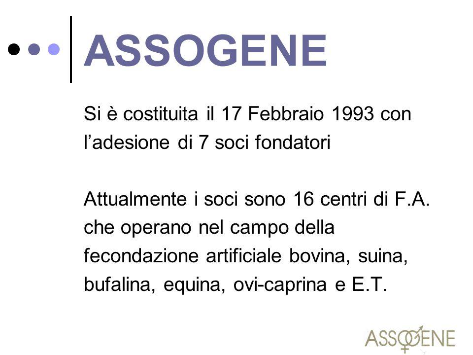 ASSOGENE Si è costituita il 17 Febbraio 1993 con