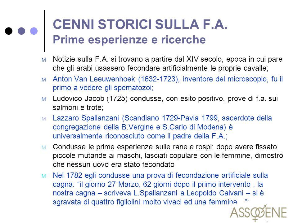 CENNI STORICI SULLA F.A. Prime esperienze e ricerche
