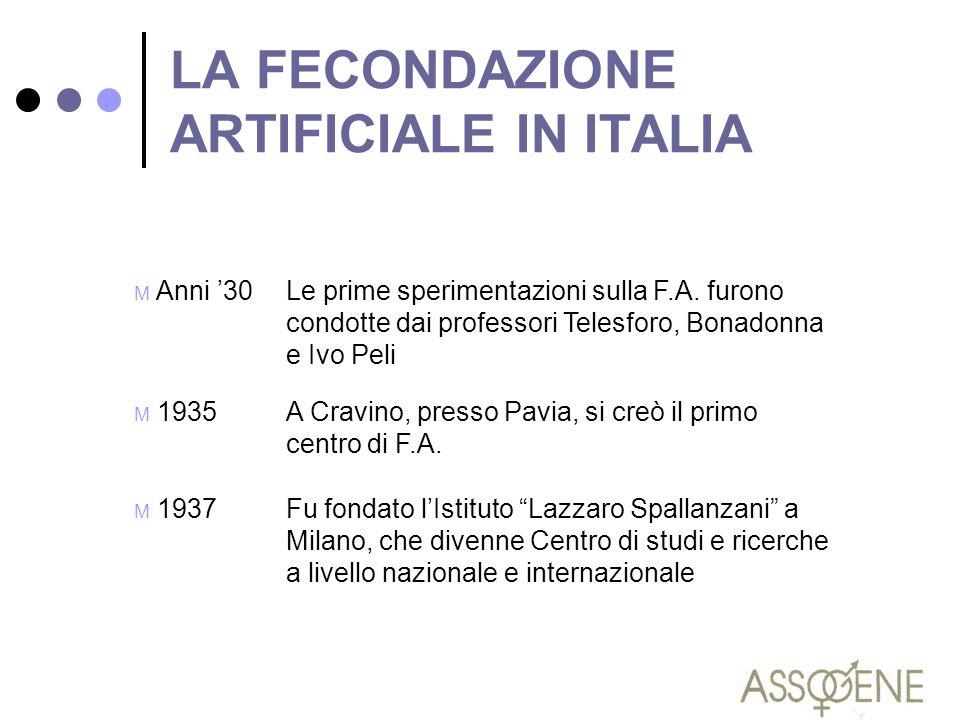 LA FECONDAZIONE ARTIFICIALE IN ITALIA