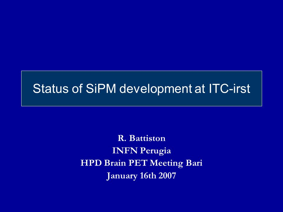 Status of SiPM development at ITC-irst