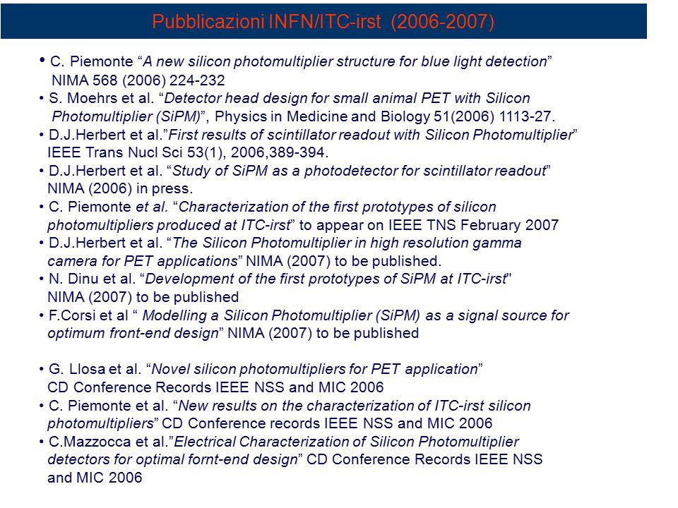 Pubblicazioni INFN/ITC-irst (2006-2007)