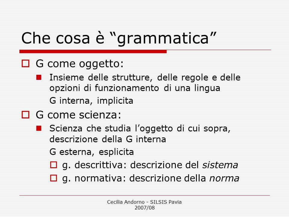 Che cosa è grammatica