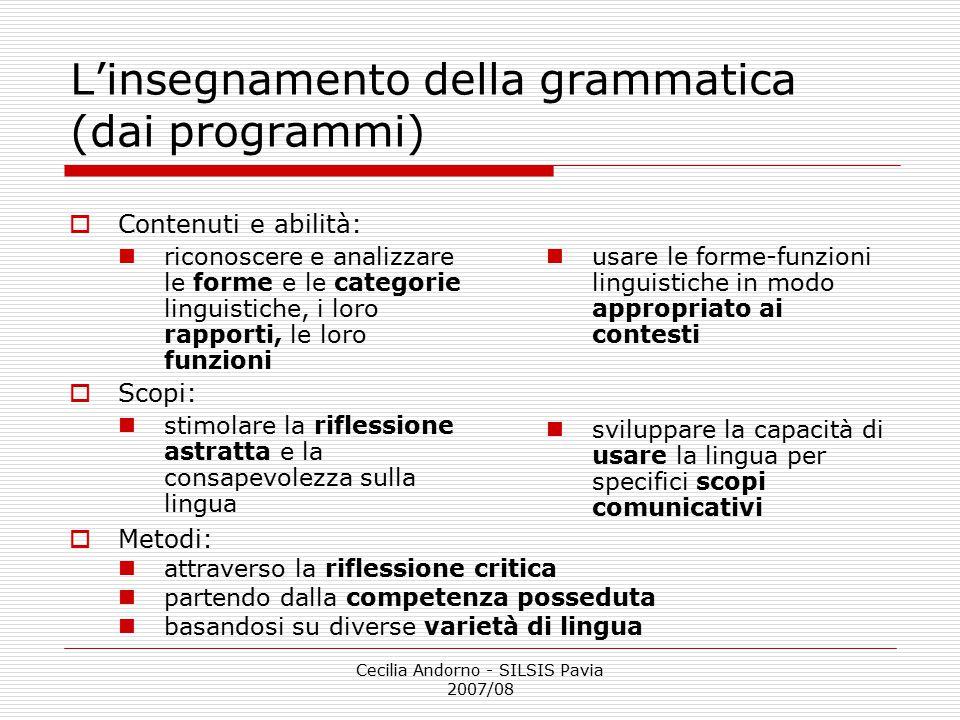 L'insegnamento della grammatica (dai programmi)