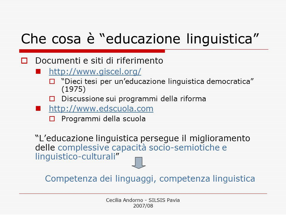 Che cosa è educazione linguistica