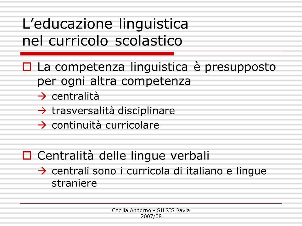 L'educazione linguistica nel curricolo scolastico