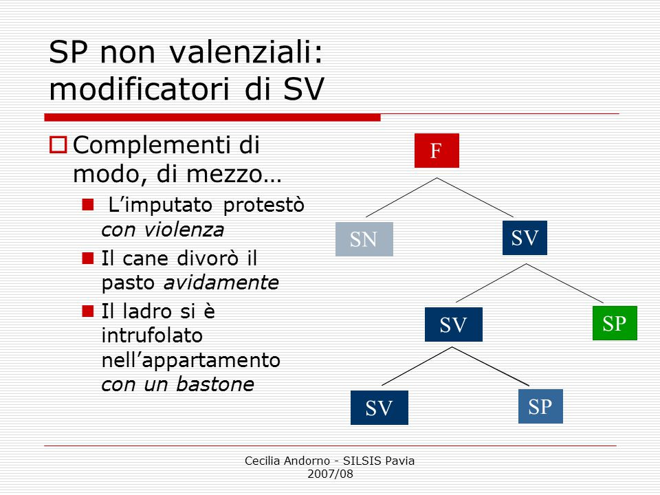 SP non valenziali: modificatori di SV