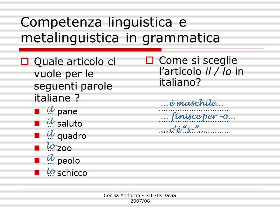 Competenza linguistica e metalinguistica in grammatica