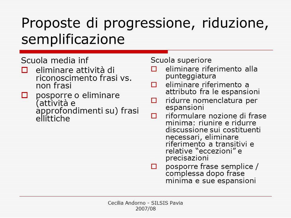 Proposte di progressione, riduzione, semplificazione