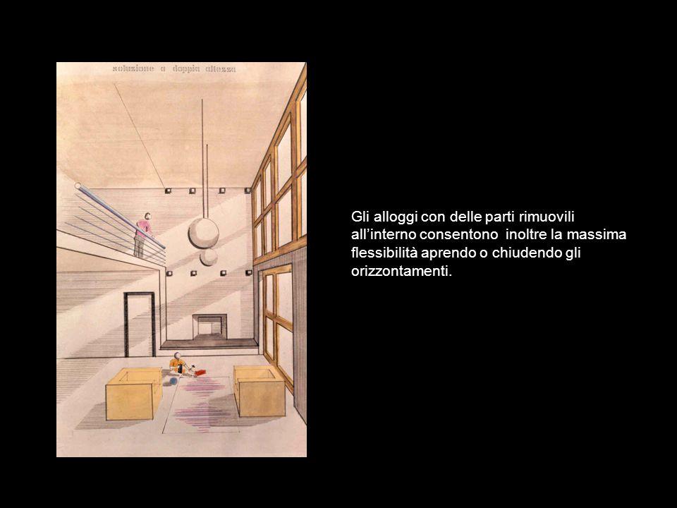 Gli alloggi con delle parti rimuovili all'interno consentono inoltre la massima flessibilità aprendo o chiudendo gli orizzontamenti.