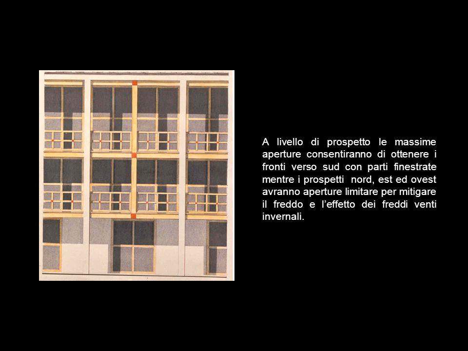 A livello di prospetto le massime aperture consentiranno di ottenere i fronti verso sud con parti finestrate mentre i prospetti nord, est ed ovest avranno aperture limitare per mitigare il freddo e l'effetto dei freddi venti invernali.