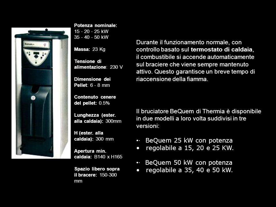 Potenza nominale: 15 - 20 - 25 kW 35 - 40 - 50 kW Massa: 23 Kg Tensione di alimentazione: 230 V Dimensione dei Pellet: 6 - 8 mm Contenuto cenere del pellet: 0.5% Lunghezza (ester. alla caldaia): 300mm H (ester. alla caldaia): 300 mm Apertura min. caldaia: B140 x H165 Spazio libero sopra il bracere: 150-300 mm