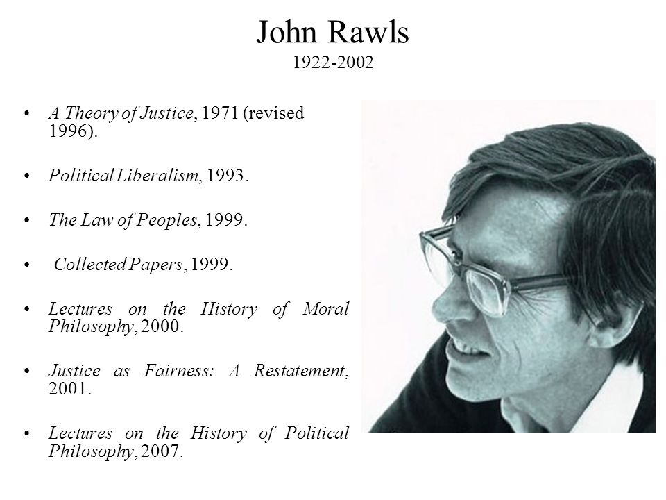 John Rawls 1922-2002 A Theory of Justice, 1971 (revised 1996).