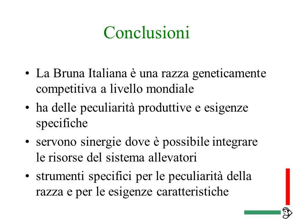 Conclusioni La Bruna Italiana è una razza geneticamente competitiva a livello mondiale. ha delle peculiarità produttive e esigenze specifiche.