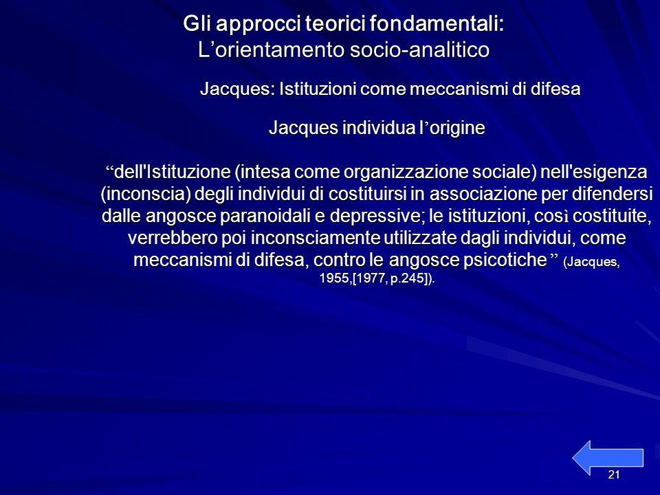 Gli approcci teorici fondamentali: L'orientamento socio-analitico