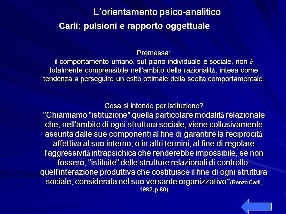 L'orientamento psico-analitico Carli: pulsioni e rapporto oggettuale