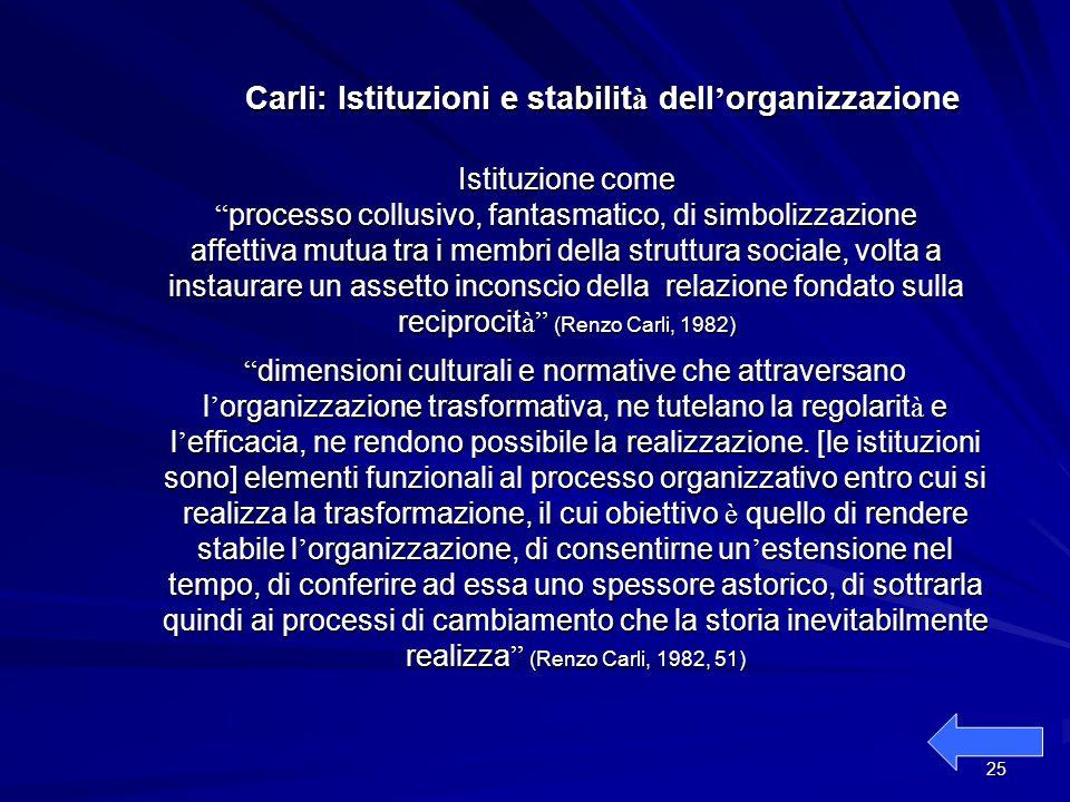 Carli: Istituzioni e stabilità dell'organizzazione