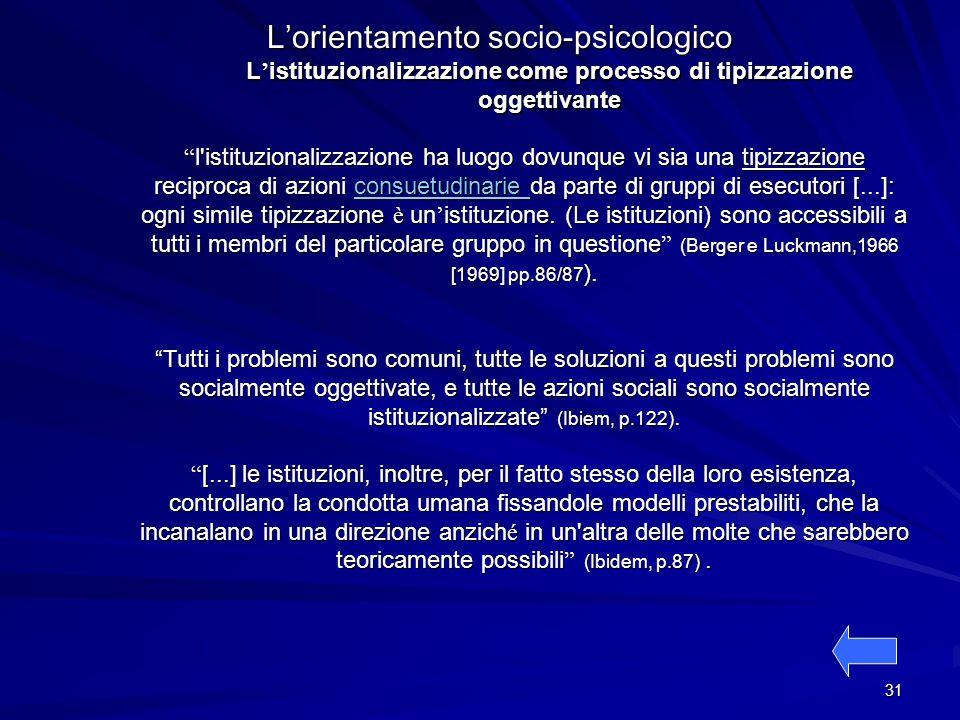 L'istituzionalizzazione come processo di tipizzazione oggettivante