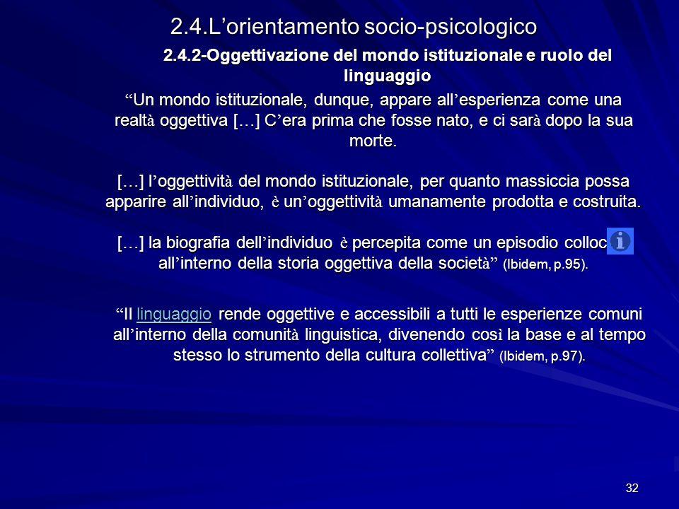 2.4.2-Oggettivazione del mondo istituzionale e ruolo del linguaggio