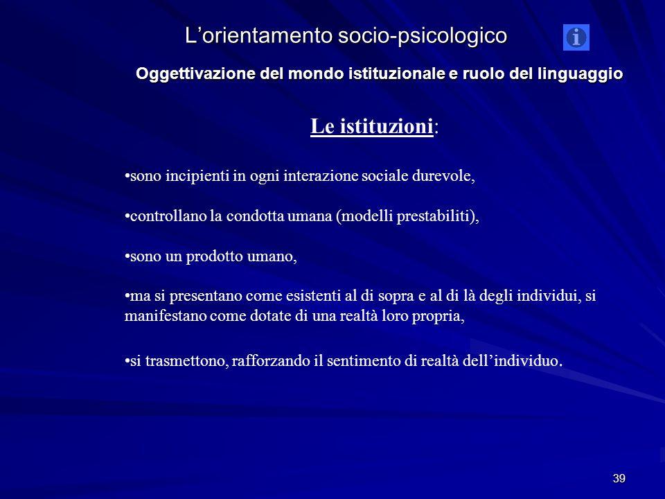 Oggettivazione del mondo istituzionale e ruolo del linguaggio