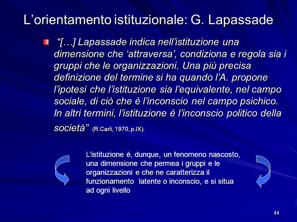 L'orientamento istituzionale: G. Lapassade