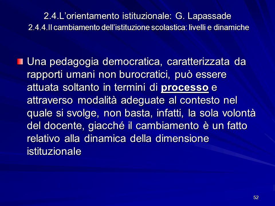 2. 4. L'orientamento istituzionale: G. Lapassade 2. 4. 4
