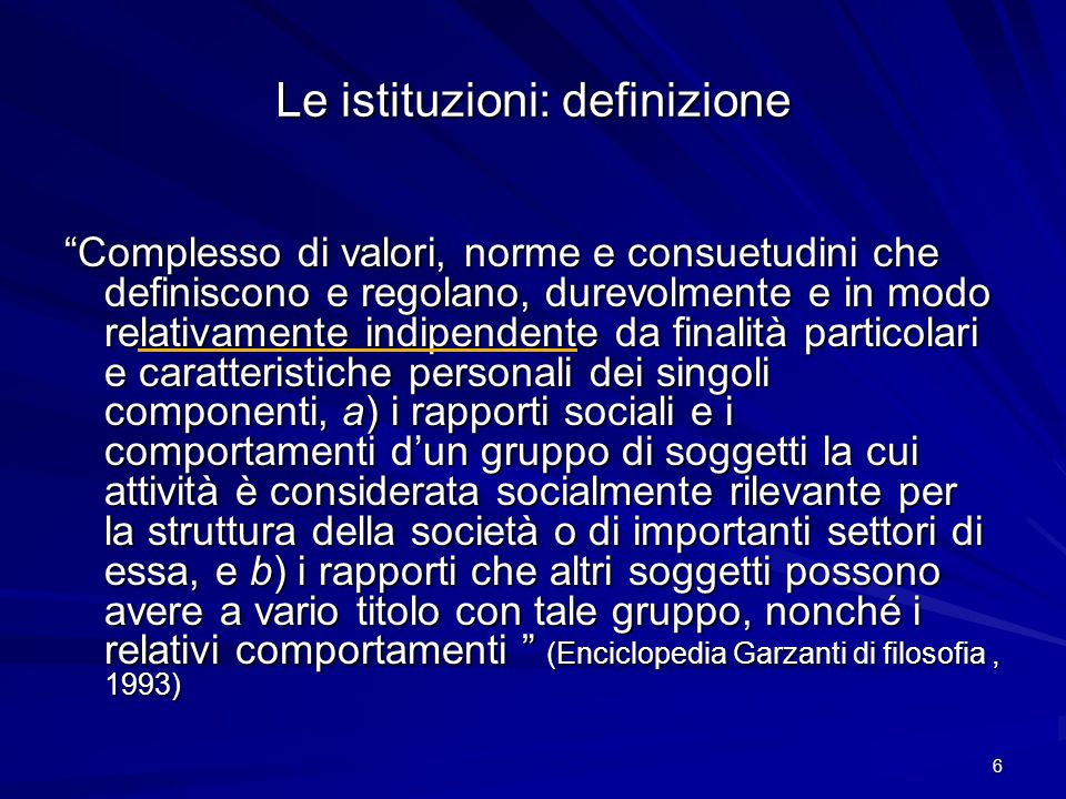 Le istituzioni: definizione