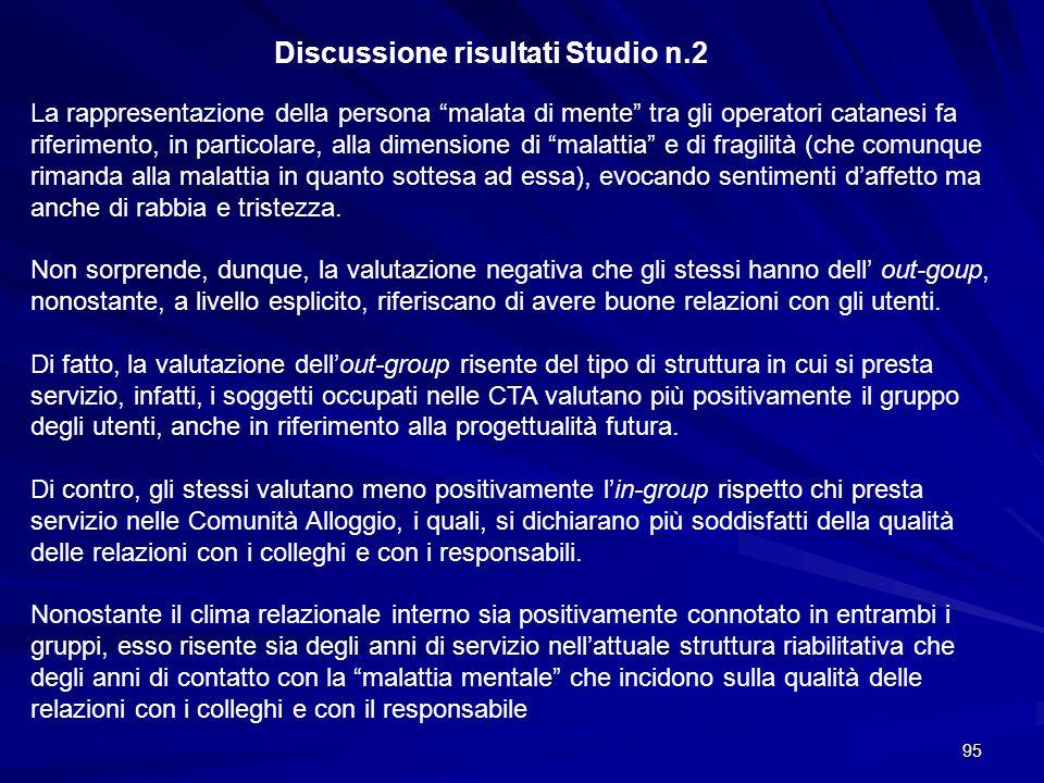 Discussione risultati Studio n.2
