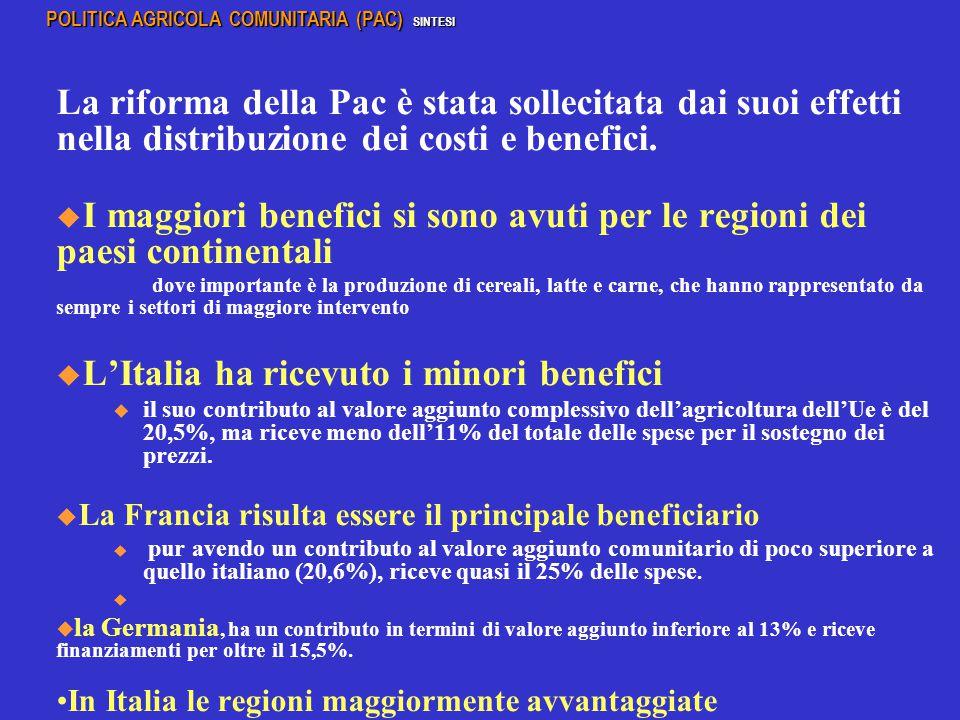 L'Italia ha ricevuto i minori benefici