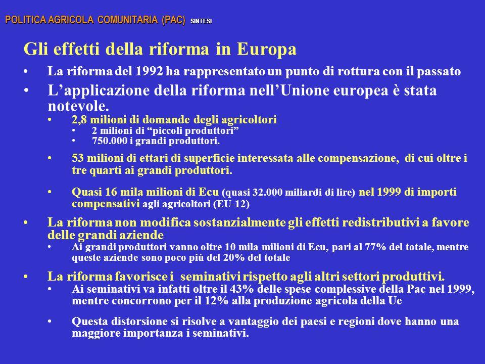 Gli effetti della riforma in Europa
