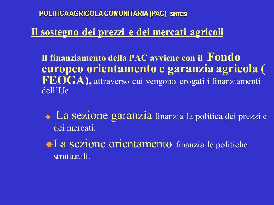 La sezione orientamento finanzia le politiche strutturali.
