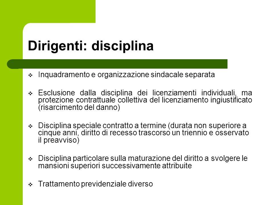 Dirigenti: disciplina