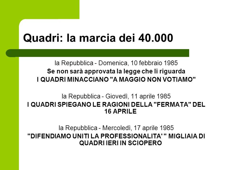 Quadri: la marcia dei 40.000 la Repubblica - Domenica, 10 febbraio 1985. Se non sarà approvata la legge che li riguarda.