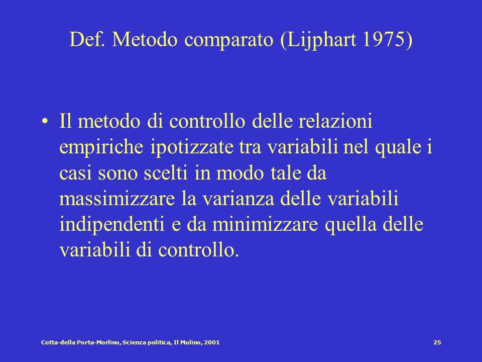 Def. Metodo comparato (Lijphart 1975)