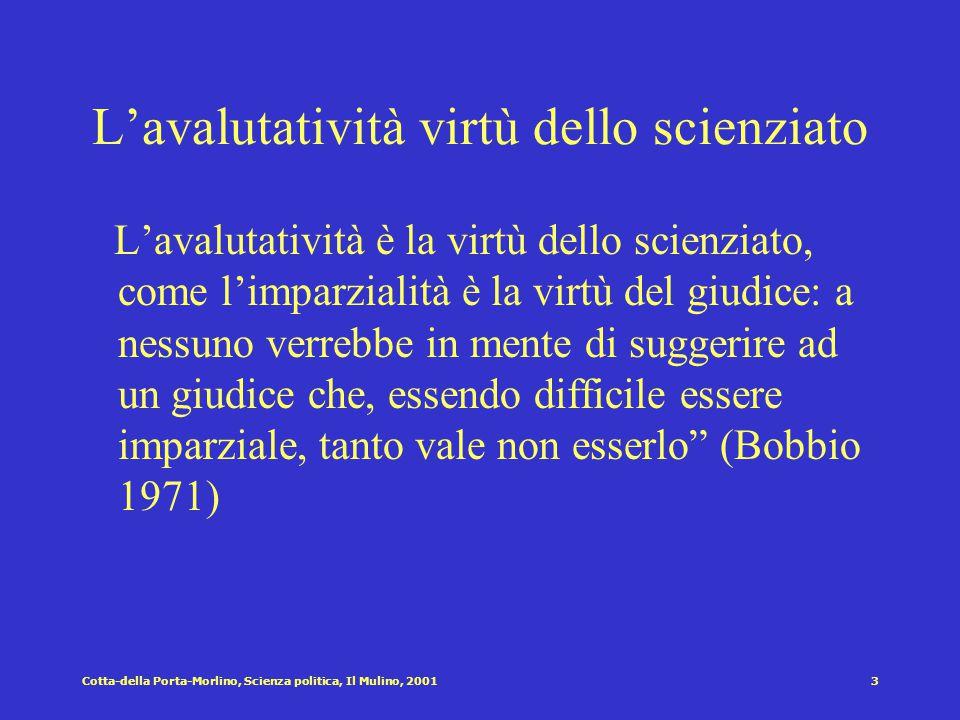 L'avalutatività virtù dello scienziato