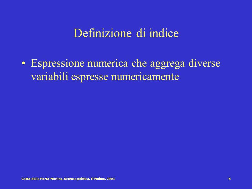 Definizione di indice Espressione numerica che aggrega diverse variabili espresse numericamente.
